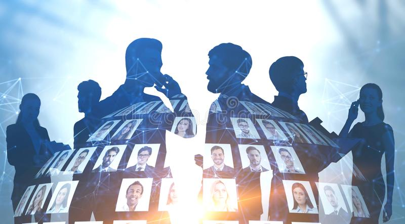 Silhouettes of people, social media. Silhouettes of diverse business people communicating with double exposure of people portraits and network hologram. Concept royalty free stock image