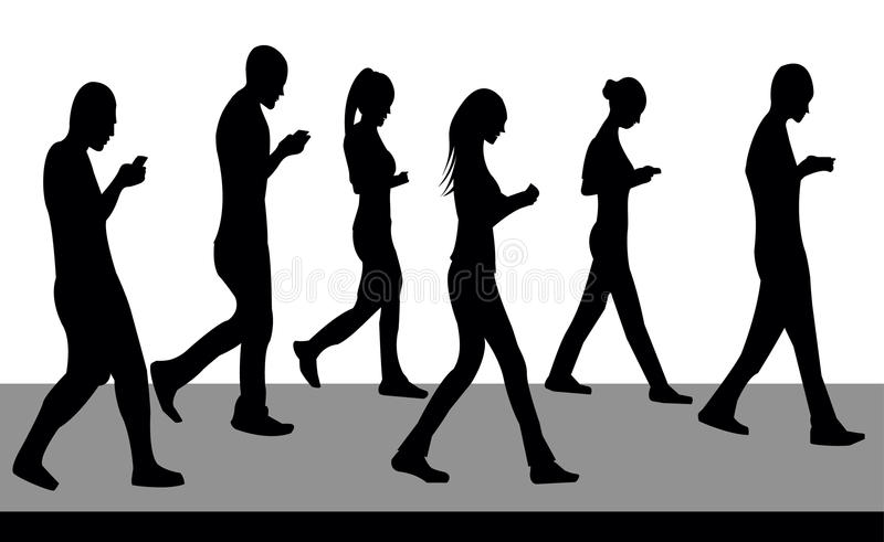 Silhouettes of people walking and with phones stock image