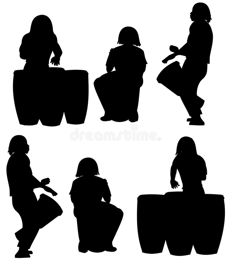 Silhouettes of percussionists stock illustration