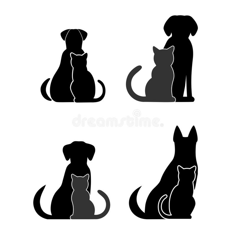 Silhouettes of pets, cat and dog royalty free illustration