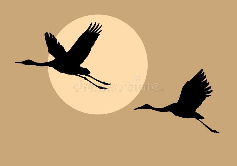 Silhouettes pilotant des grues illustration stock
