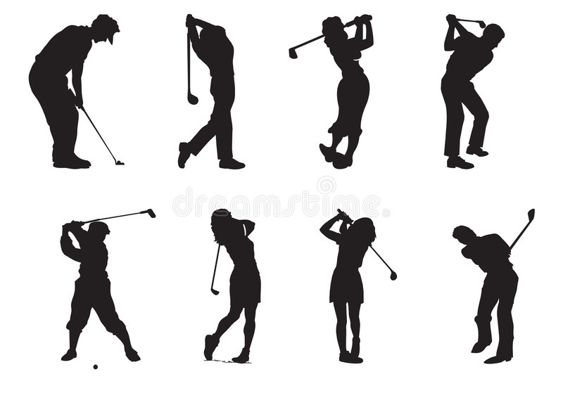 Silhouettes of players of golf royalty free illustration