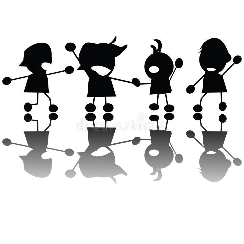 Silhouettes pleurantes d'enfants illustration de vecteur
