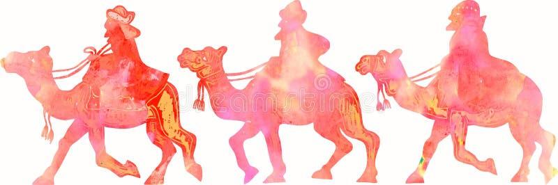 Silhouettes pour aquarelle de Rois mages illustration libre de droits