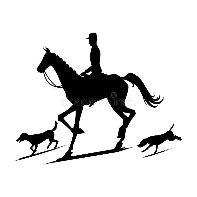 Silhouettes pour chasser pour des renards illustration libre de droits