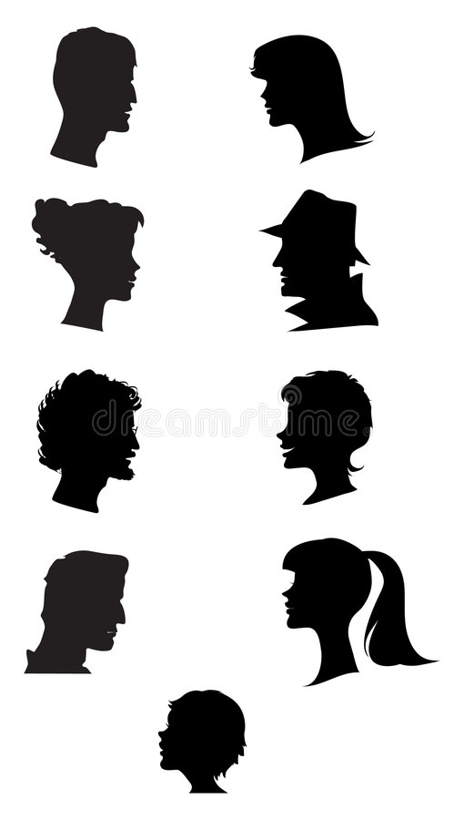 Silhouettes of profiles vector illustration