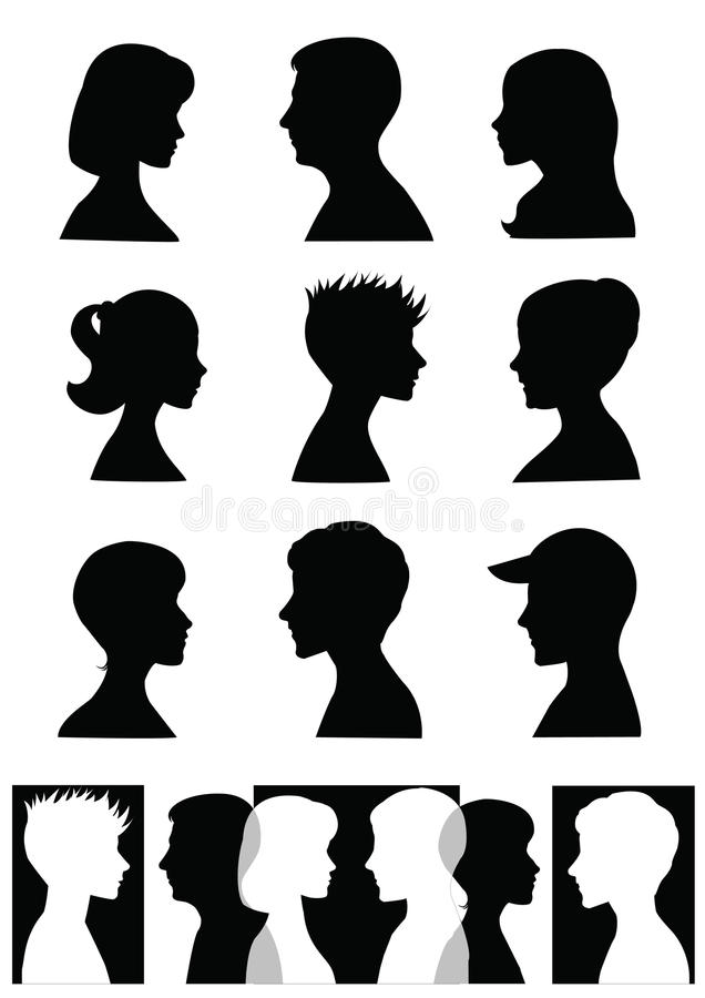 Silhouettes, profiles royalty free illustration