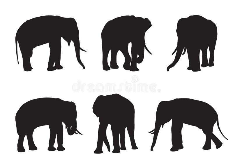 Silhouettes réglées d'éléphant illustration de vecteur