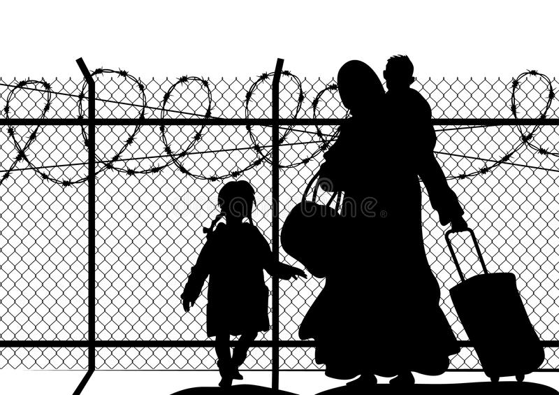 Silhouettes of refugee with two children standing at the border. Immigration religion and social theme vector illustration