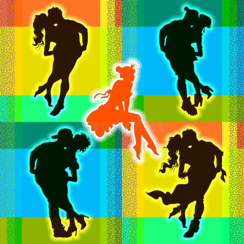 Silhouettes romantiques des hommes et des femmes illustration de vecteur