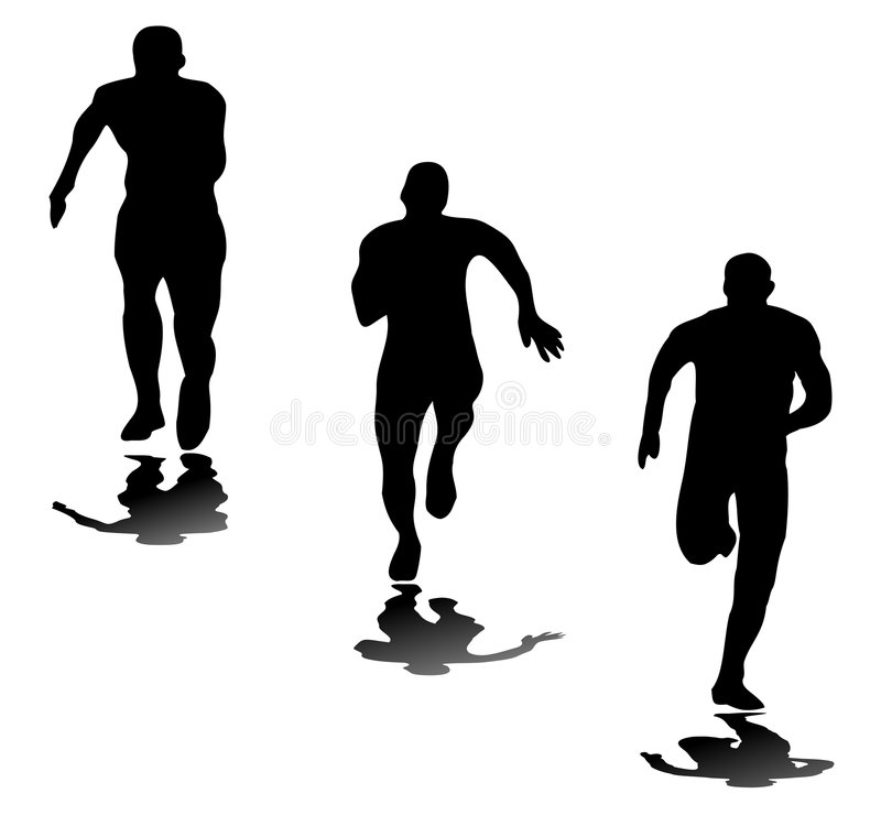 Silhouettes of runners royalty free stock photography