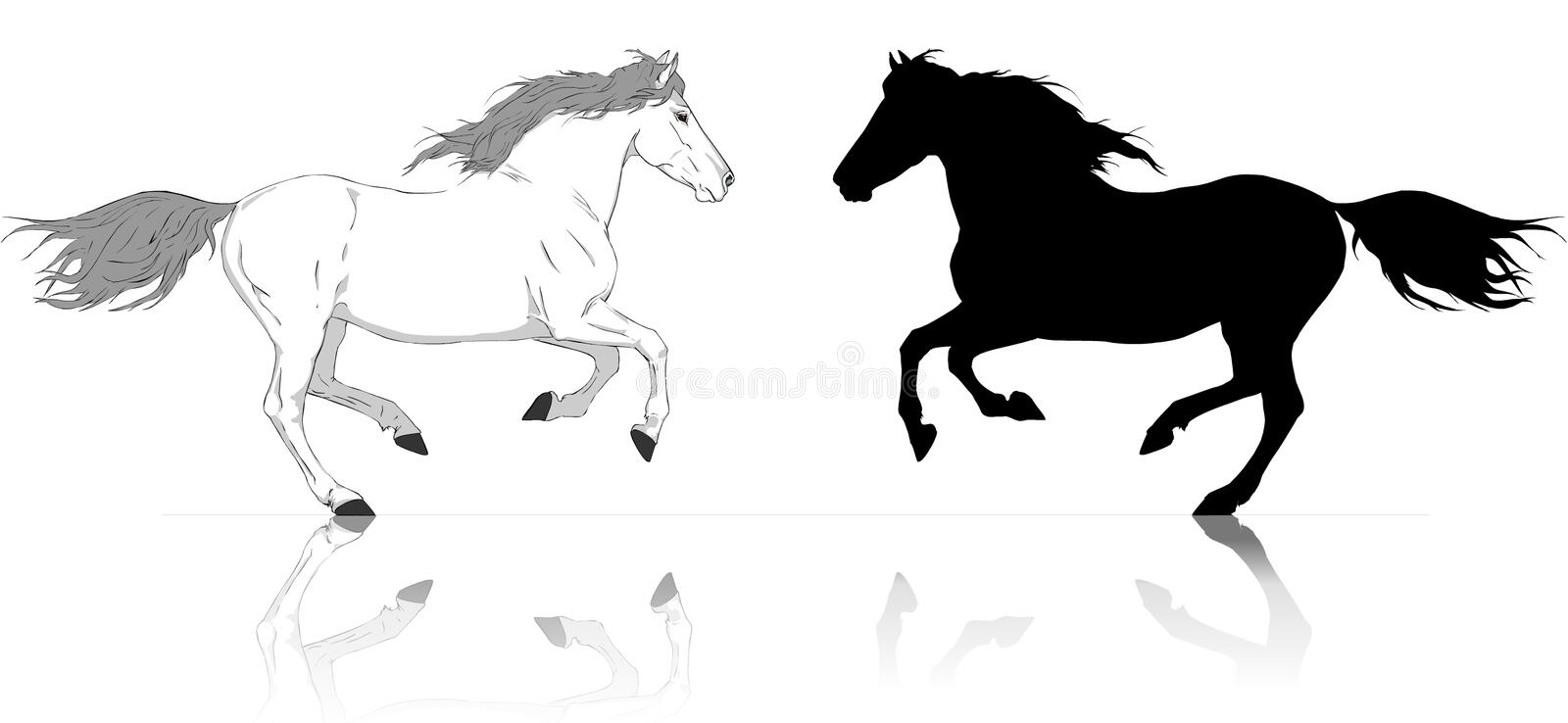 Silhouettes of runs horses white and black vector illustration