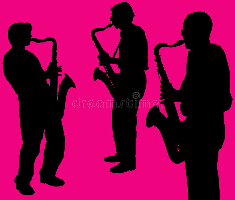 Silhouettes Of Sax Players Stock Photo