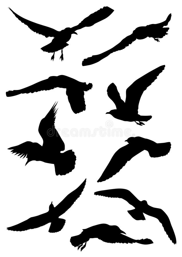 Silhouettes of seagulls stock illustration
