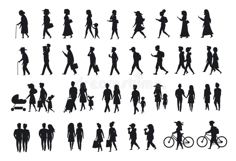 Silhouettes set of people walking.family couples,parents, man and woman different age generation walk with bikes,smartphones, coff stock illustration