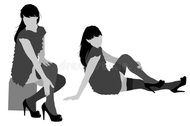 Silhouettes sexy de femme illustration stock
