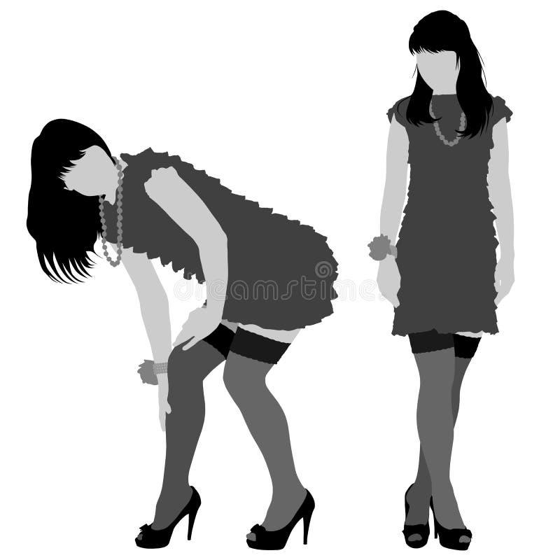 Silhouettes sexy de femme illustration libre de droits