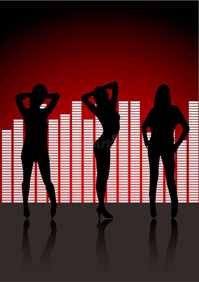 Silhouettes sexy de femmes dans le club illustration stock