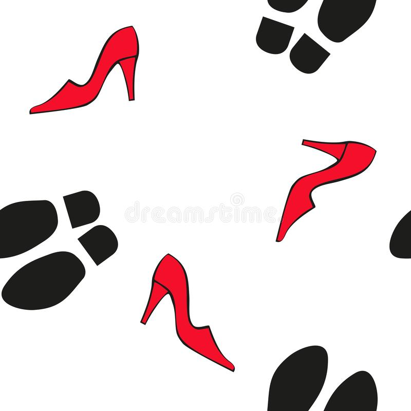 Silhouettes of shoes and soles. Seamless vector pattern in flat style. royalty free illustration