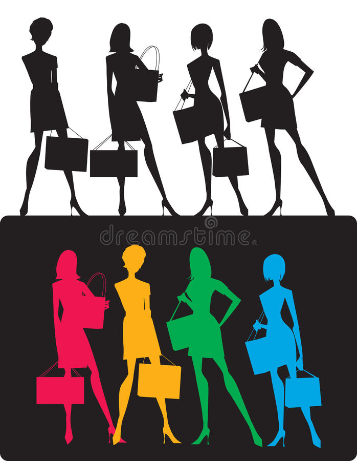 Download Silhouettes Of Shopping Girls Stock Image - Image: 25718477
