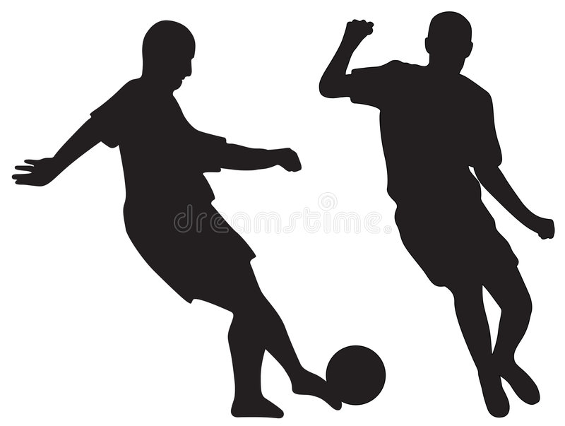 Silhouettes of soccer players stock illustration