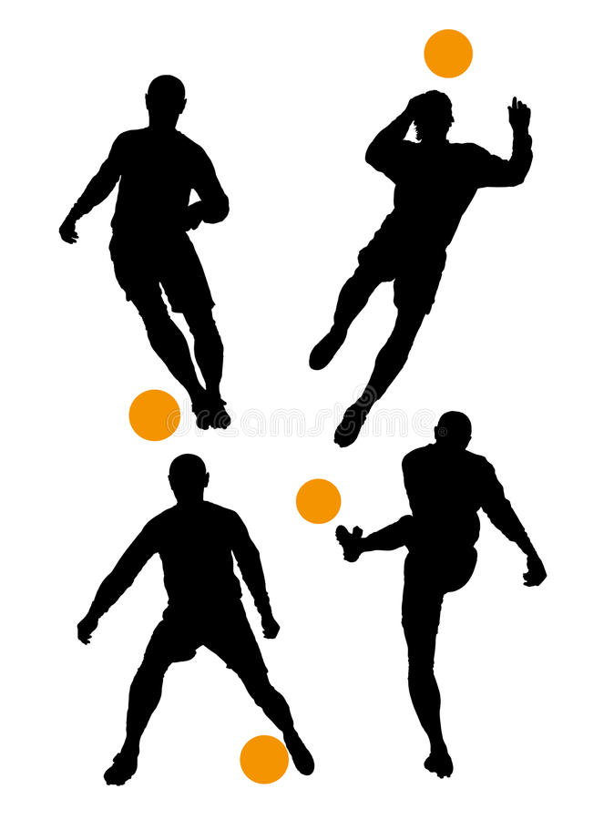 Silhouettes of soccer players stock photography