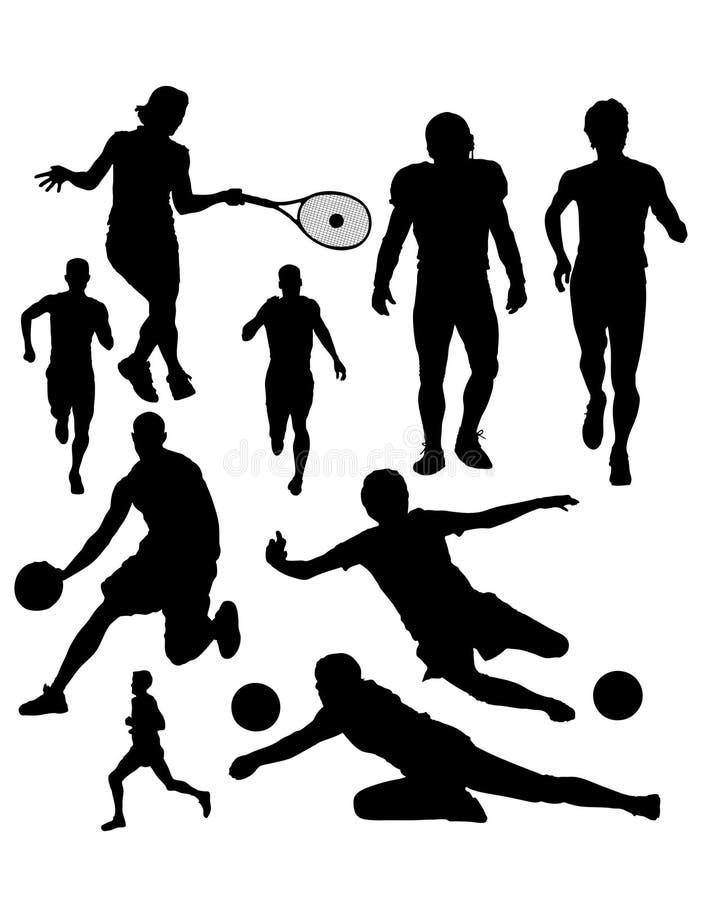 silhouettes sportar vektor illustrationer