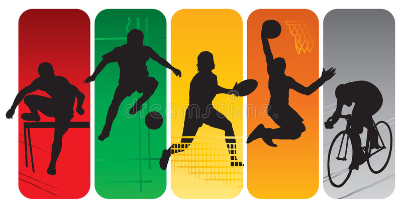 silhouettes sporten royaltyfri illustrationer