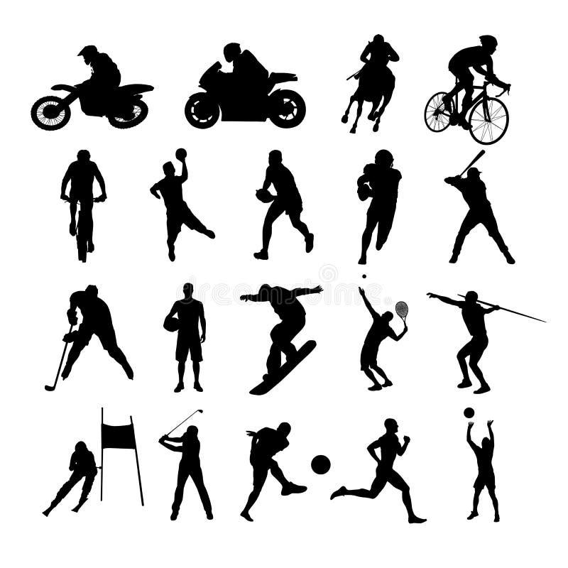 silhouettes sporten Set av vektorsilhouettes vektor illustrationer