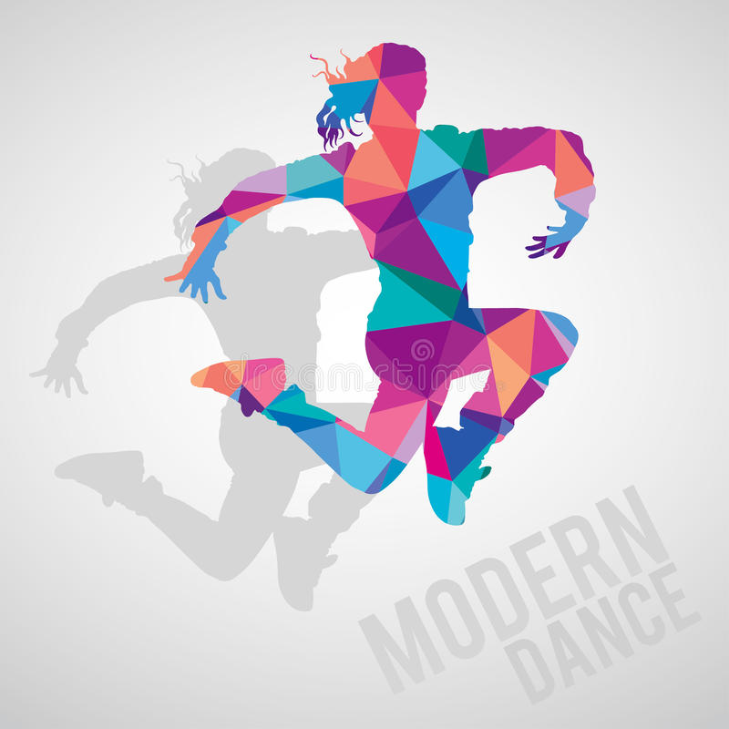 Silhouettes of sportive girl dancing modern dance styles stock photos