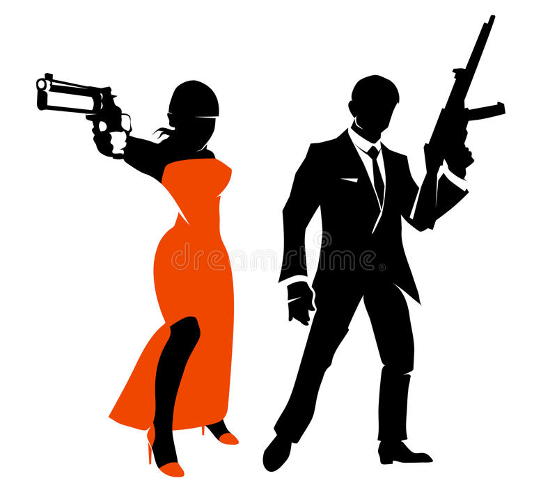 Silhouettes of spy couple. Vector characters. Silhouettes of spy couple. Woman with weapon in red dress, gangster person or secret agent. Vector illustration stock illustration