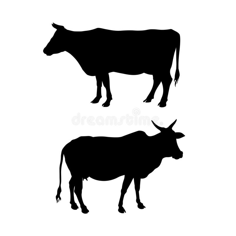 Silhouettes of a standing cow stock illustration