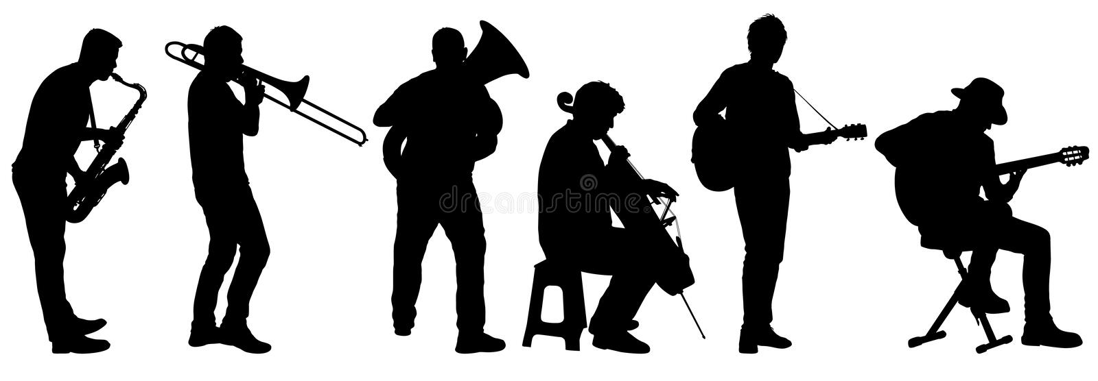 Silhouettes street musicians playing instruments on a white background stock illustration