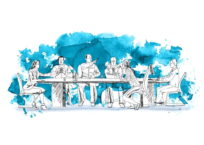 Silhouettes of successful business people working on meeting. Sketch with colourful water colour effects royalty free illustration