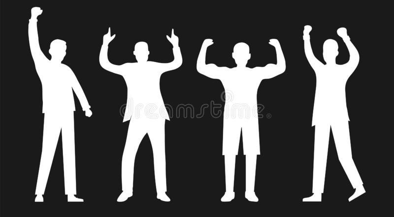 Silhouettes of successful people isolated on black. Successful people, confident people. Men are winners. Vector stock illustration