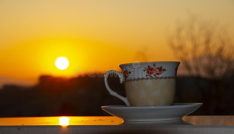 Silhouettes of sunrise morning coffee royalty free stock images