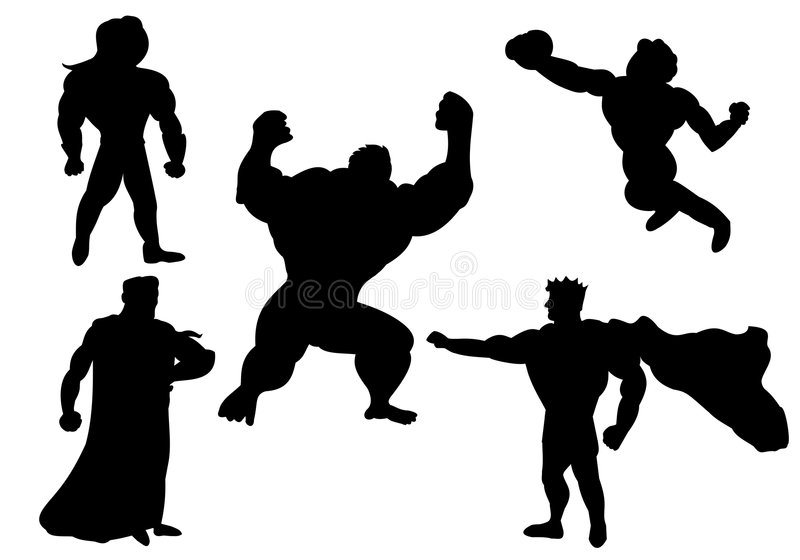 Silhouettes of superheroes. Silhouettes of villain and superheroes vector illustration