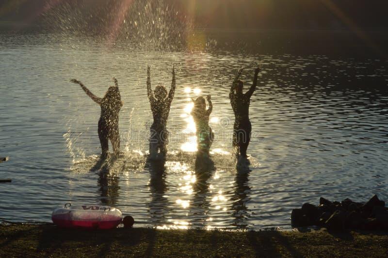 Silhouettes sur un lac photographie stock