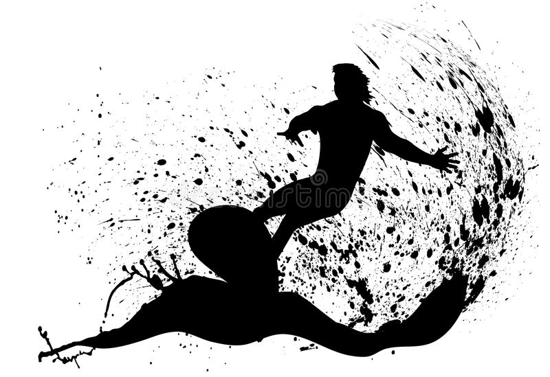 Silhouettes of surfers royalty free illustration
