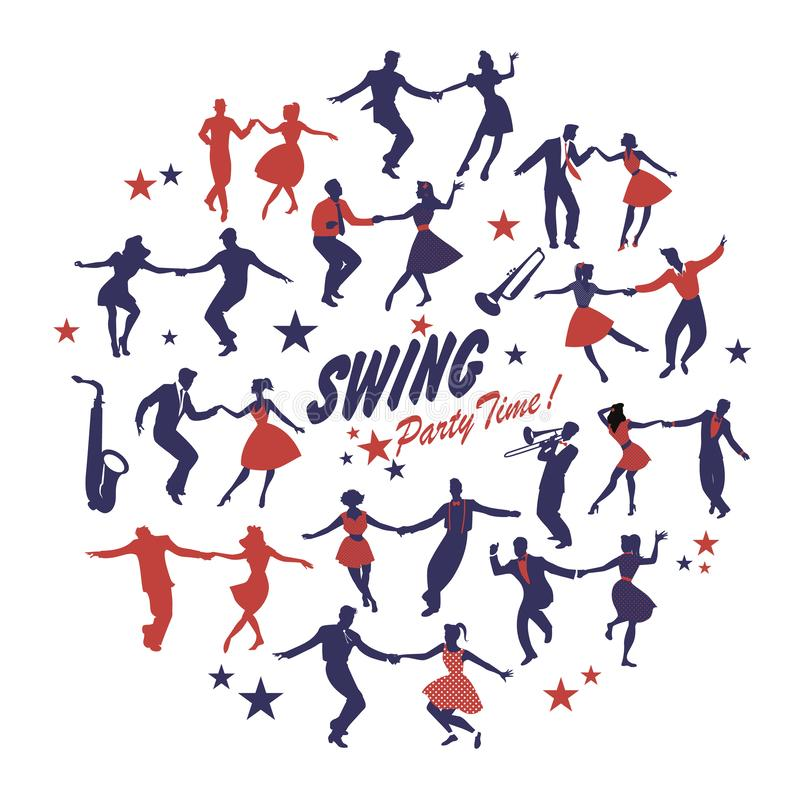 Silhouettes of swing dancers isolated forming a circle on white background vector illustration