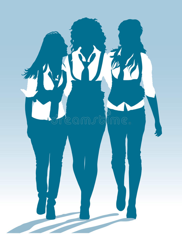 Silhouettes of teenage schoolgirls walking together stock photography