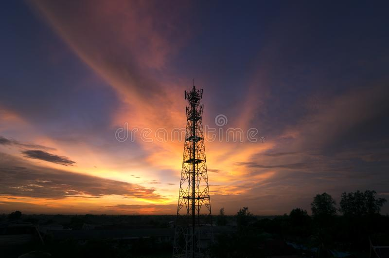 Silhouettes Telecommunication tower royalty free stock photos