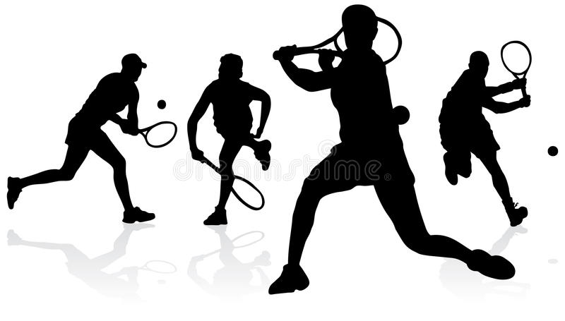 silhouettes tennis royaltyfri illustrationer