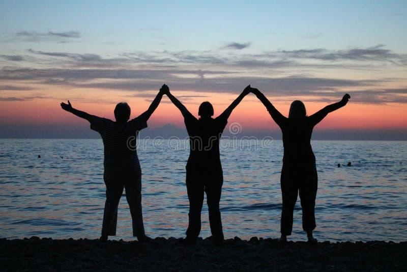 Silhouettes sunset over Adriatic Sea Pula Croatia royalty free stock images