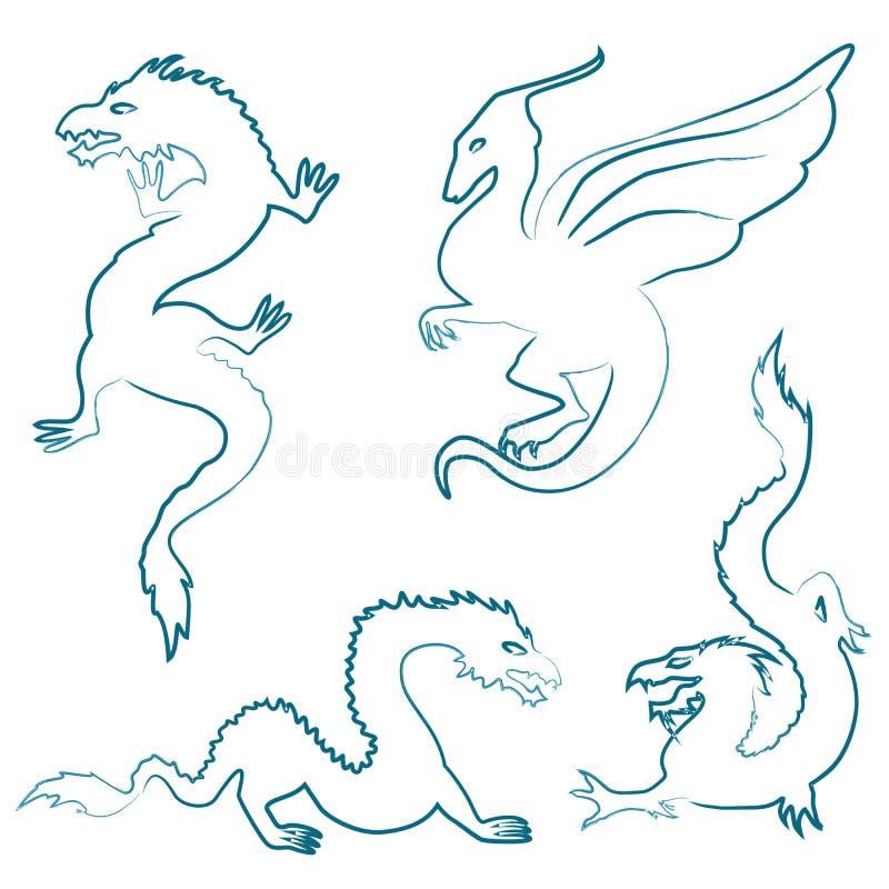 Silhouettes tirées par la main de dragon réglées illustration stock