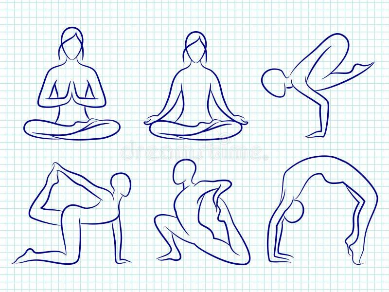 Silhouettes tirées par la main de pilates de yoga de forme physique illustration libre de droits