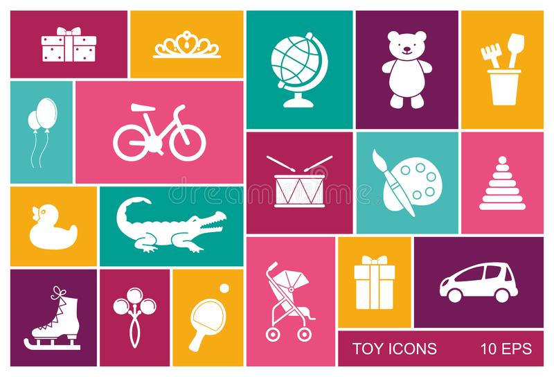 Silhouettes of toys for children - vector flat icons vector illustration