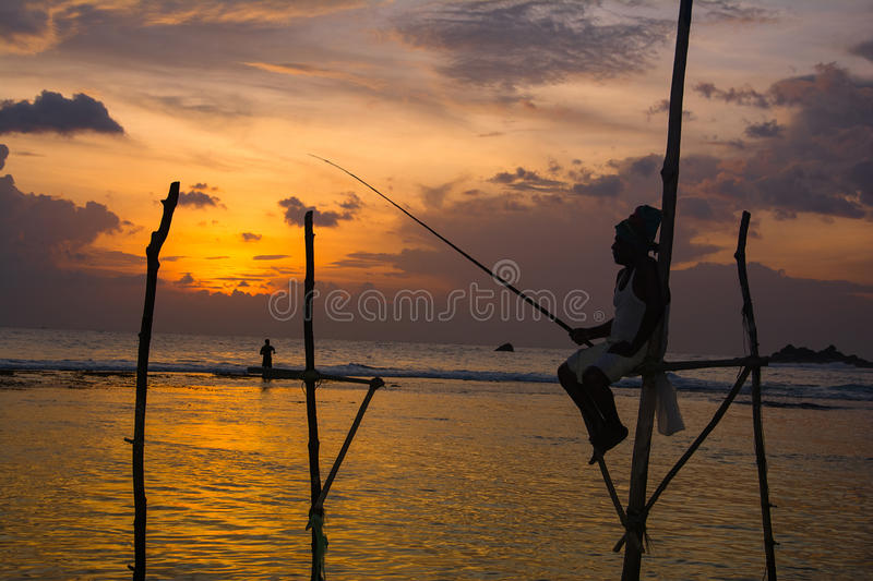 Silhouettes of the traditional Sri Lankan stilt fishermen. At the sunset in Weligama, Sri Lanka. Stilt fishing is a method of fishing unique to the island royalty free stock photos