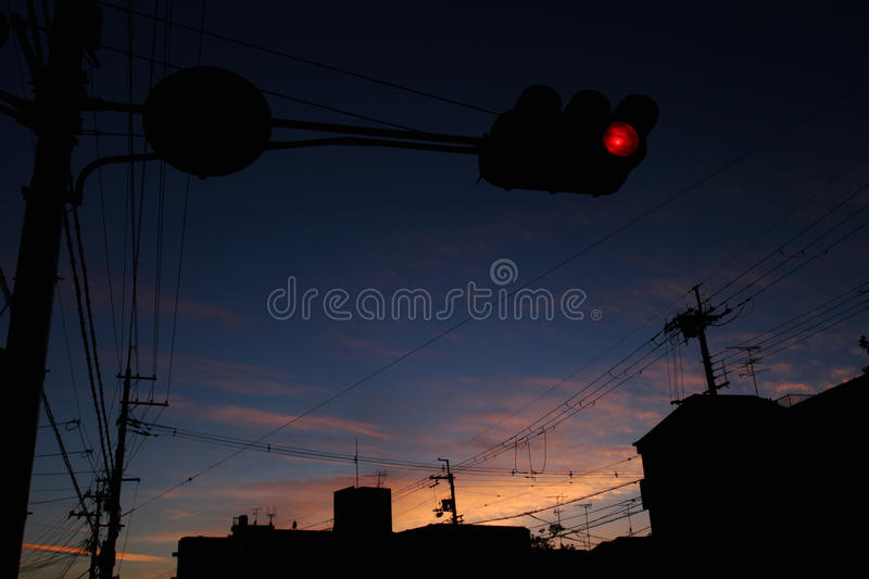 Dusk city silhouette royalty free stock photo