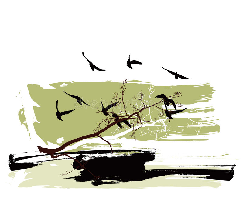 Silhouettes of trees and flying birds on a grunge background stock illustration
